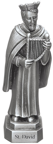 Statue St David Wales 3.5 inch Pewter Silver