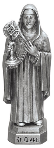 Statue St Clare Assisi 3.5 inch Pewter Silver