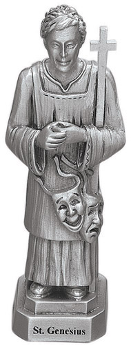 Statue St Genesius 3.5 inch Pewter Silver