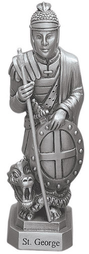 Statue St George 3.5 inch Pewter Silver