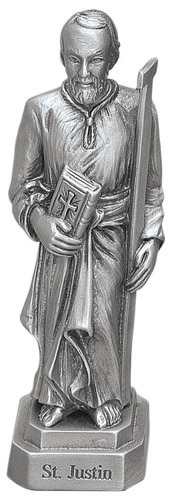 Statue St Justin Martyr 3.5 inch Pewter Silver