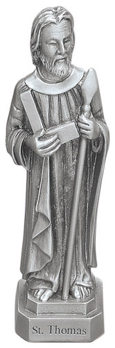 Statue St Thomas Apostle 3.5 inch Pewter Silver