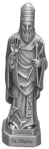 Statue St Blaise 3.5 inch Pewter Silver
