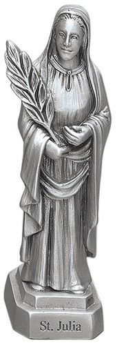 Statue St Julia 3.5 inch Pewter Silver