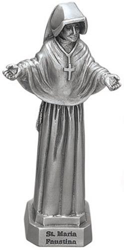 Statue St Faustina Kowalska 3.5 inch Pewter Silver