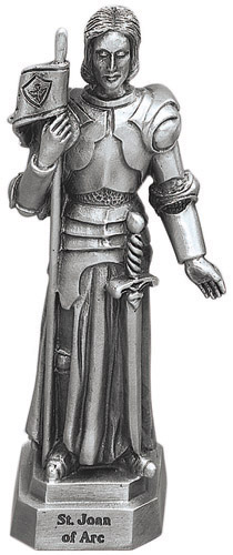 Statue St Joan of Arc 3.5 inch Pewter Silver