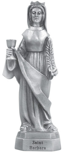 Statue St Barbara 3.5 inch Pewter Silver
