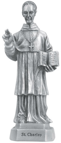 Statue St Charles Borromeo 3.5 inch Pewter Silver