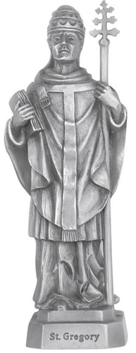 Statue St Gregory the Great 3.5 inch Pewter Silver