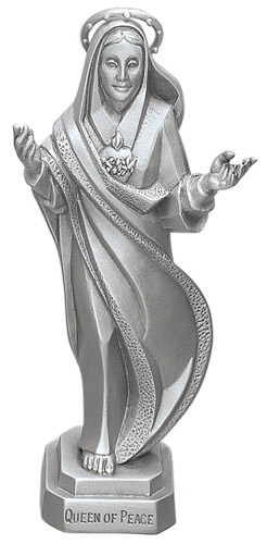 Statue Mary Immaculate Heart 3.5 inch Pewter Silver