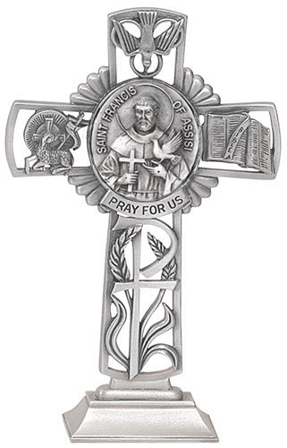 Cross Standing St Francis Assisi 5 inch Pewter Silver