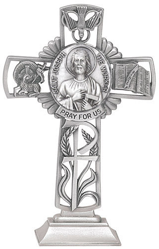 Cross Standing St Joseph Worker 5 inch Pewter Silver