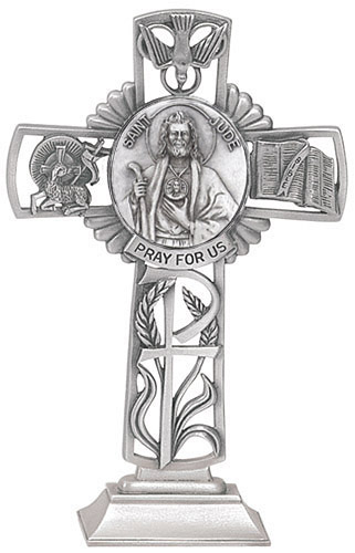 Cross Standing St Jude Thaddeus 5 inch Pewter Silver