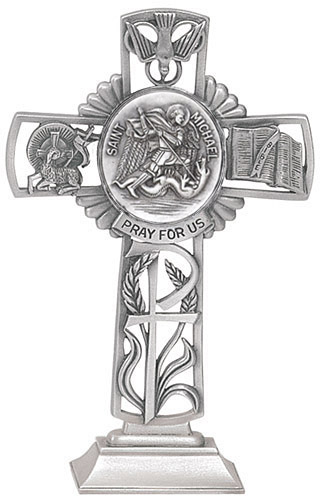 Cross Standing St Michael Archangel 5 inch Pewter Silver