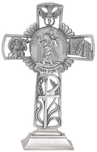 Cross Standing St Christopher 5 inch Pewter Silver