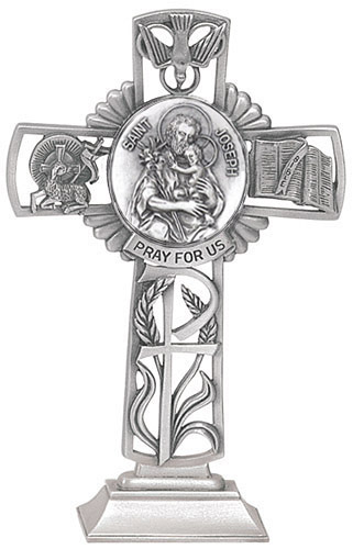 Cross Standing St Joseph 5 inch Pewter Silver