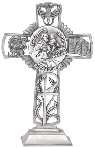 Cross Standing St Anthony Padua 5 inch Pewter Silver