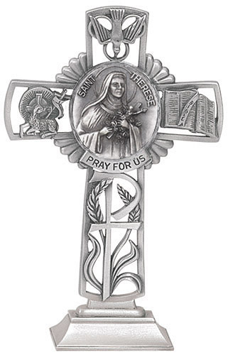 Cross Standing St Therese Lisieux 5 inch Pewter Silver
