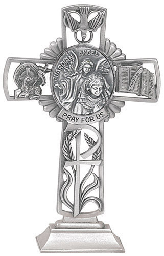 Cross Standing Guardian Angel Girl 5 inch Pewter Silver