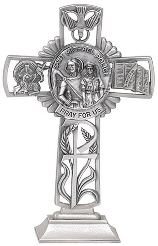 Cross Standing St Michael Police 5 inch Pewter Silver