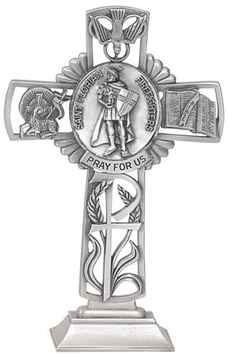Cross Standing St Florian Firefighters 5 inch Pewter Silver