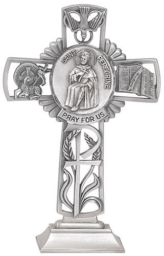Cross Standing St Peregrine 5 inch Pewter Silver