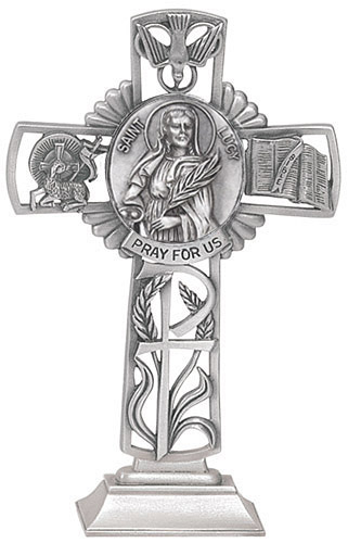 Cross Standing St Lucy 5 inch Pewter Silver