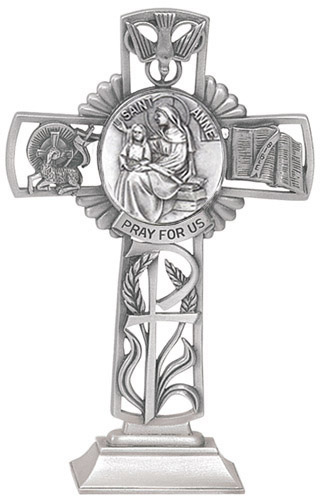 Cross Standing St Anne Medallion 5 inch Pewter Silver