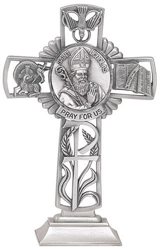 Cross Standing St Nicholas Myra 5 inch Pewter Silver