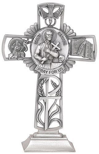 Cross Standing St Gerard 5 inch Pewter Silver