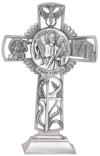 Cross Standing St Andrew Apostle 5 inch Pewter Silver
