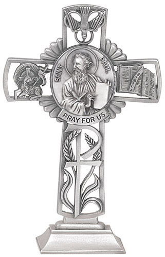 Cross Standing St Paul Apostle 5 inch Pewter Silver