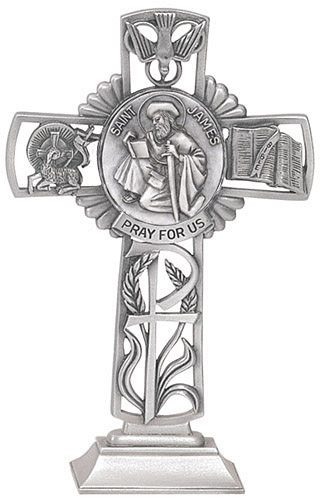 Cross Standing St James Less 5 inch Pewter Silver