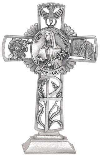 Cross Standing St Catherine Siena 5 inch Pewter Silver