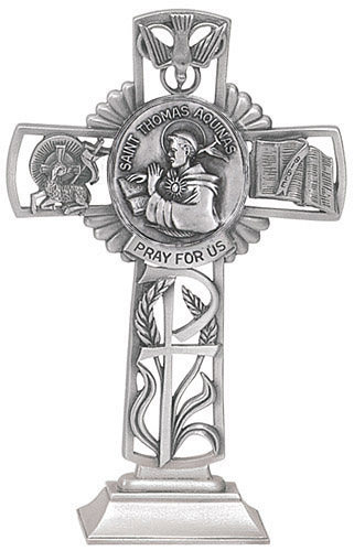 Cross Standing St Thomas Aquinas 5 inch Pewter Silver