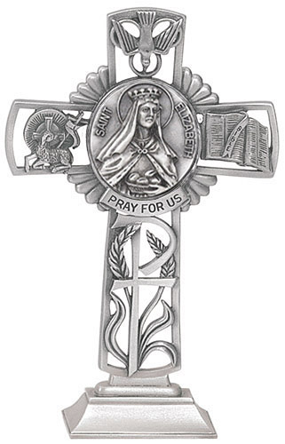 Cross Standing St Elizabeth Hungary 5 inch Pewter Silver