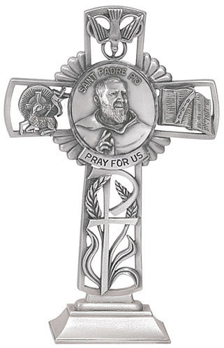 Cross Standing St Padre Pio 5 inch Pewter Silver