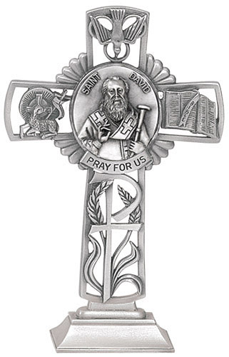 Cross Standing St David Wales 5 inch Pewter Silver
