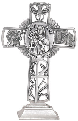 Cross Standing St Clare Assisi 5 inch Pewter Silver