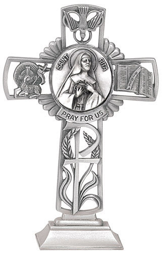 Cross Standing St Rita Cascia 5 inch Pewter Silver