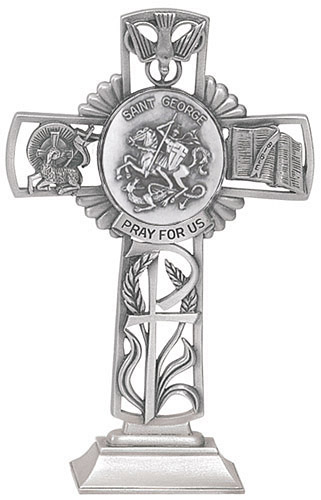 Cross Standing St George 5 inch Pewter Silver