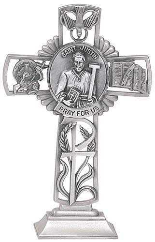 Cross Standing St Justin Martyr 5 inch Pewter Silver