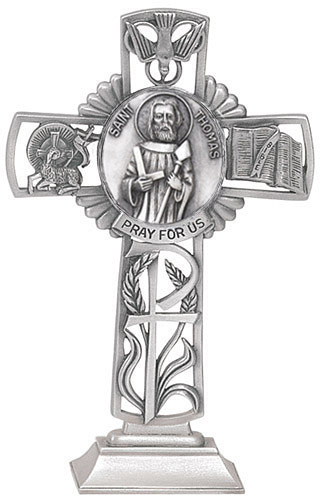 Cross Standing St Thomas Apostle 5 inch Pewter Silver