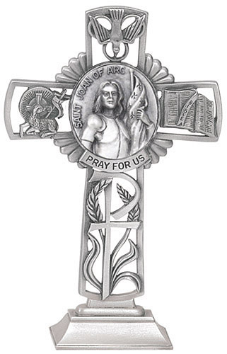 Cross Standing St Joan of Arc 5 inch Pewter Silver