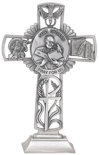 Cross Standing St Gregory Great 5 inch Pewter Silver