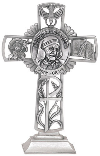 Cross Standing St Mother Teresa Calcutta 5 inch Pewter Silver