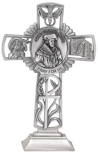 Cross Standing St Thomas More 5 inch Pewter Silver