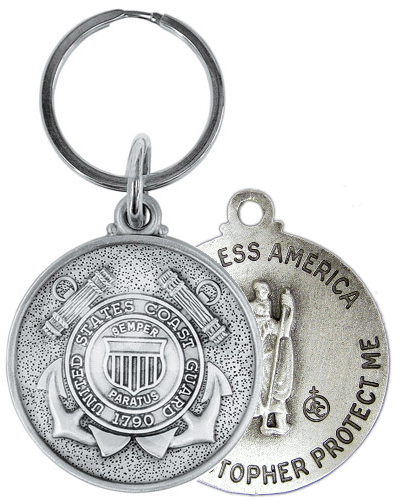 Keychain Fob St Christopher US Coast Guard Medal Pewter Silver