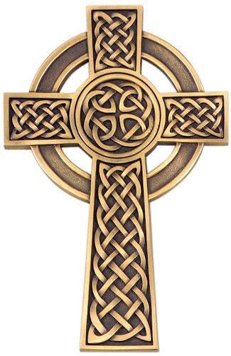 Cross Wall Celtic Knot 8 inch Pewter Gold