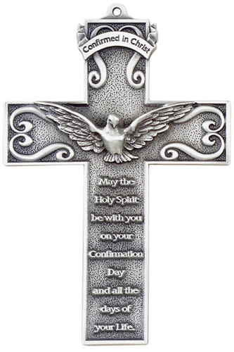 Cross Wall Confirmation Square 5 inch Pewter Silver